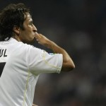 Real  Madrid's Raul Gonzalez celebrates his goal during their Spanish First Division soccer match against Valladolid at Santiago Bernabeu stadium in Madrid